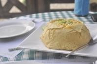 fried rice encased in scramble egg