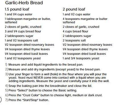 garlic herb recipe