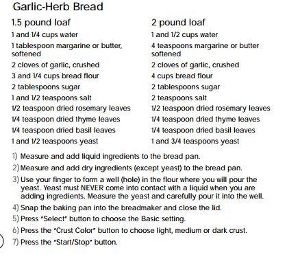 garlic herb recipe